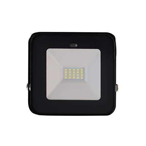 Müller-Licht John 10 W Sensor LED-Außenstrahler mit Bewegungs- und Dämmerungssensor, tageslichtweiß (6500 K), IP65 geschützt, 700 lm, für Drinnen und Draußen, Direktanschluss, schwarz