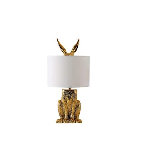 Lighfd Lámpara De Mesa De Decoración De La Habitación para Niños Nórdica De Lujo De Lujo Dormitorio Dormitorio Diseñador Showroom Simple Moderno Creativo Conejo Resina (Color : Oro)