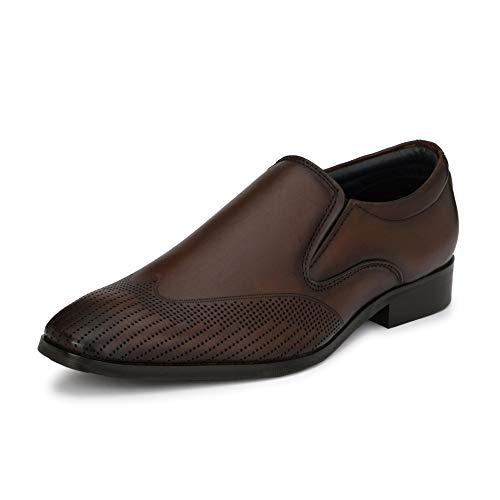 Saddle & Barnes Men's Brown Leather Formal Loafers - 6 UK, HS 244-6