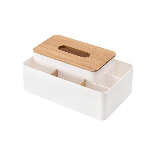 QAZX Caja Tejido Cuadro Titular De Escritorio De Madera Cubren Las Cajas De Almacenaje del Tejido Cubierta De La Caja (Color : White)