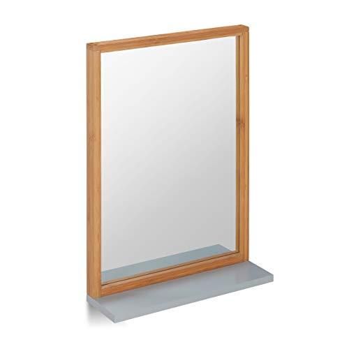 Relaxdays Wandspiegel mit Ablage, Spiegel zum Aufhängen, Badspiegel Holzrahmen, Flurspiegel aus Bambus & MDF, Natur/grau