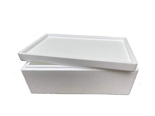 Thermobox, Styroporbox für Essen, Getränke & temperaturempfindliche Ware , Isolierbox aus Styropor mit Deckel , Maße: 55 x 31 x 21 cm , Wandstärke: 4 cm , Volumen: 18,5 L