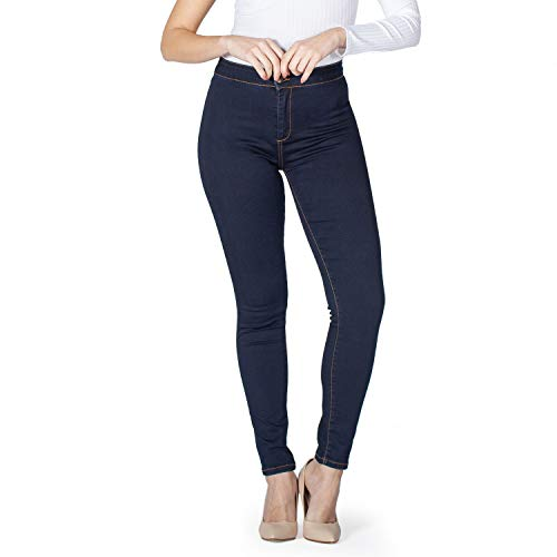 MAMAJEANS Damen Jeggings mit Hoher Taille, Bequeme Stretch-Baumwolle, Skinny Fit - Made in Italy (38, Denim)