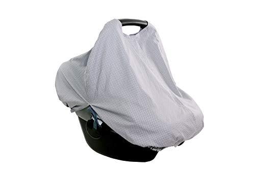 ULLENBOOM ® WIGGYBOO Babyschale & Kinderwagen Abdeckung Grau (Made in EU) - ideal als Sonnenschutz, auch verwendbar als Baby Stilltuch für unterwegs, aus 100% Baumwolle
