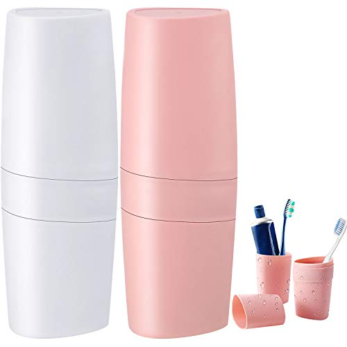 Boao 2 Pcs Travel Toothbrush Case 3 in 1 Toothpaste Travel Case Holder Toothbrush Storage Box Plastic Toothbrush Carrier Container Case for Travel Business Home Camping School Supplies(White and Pink)