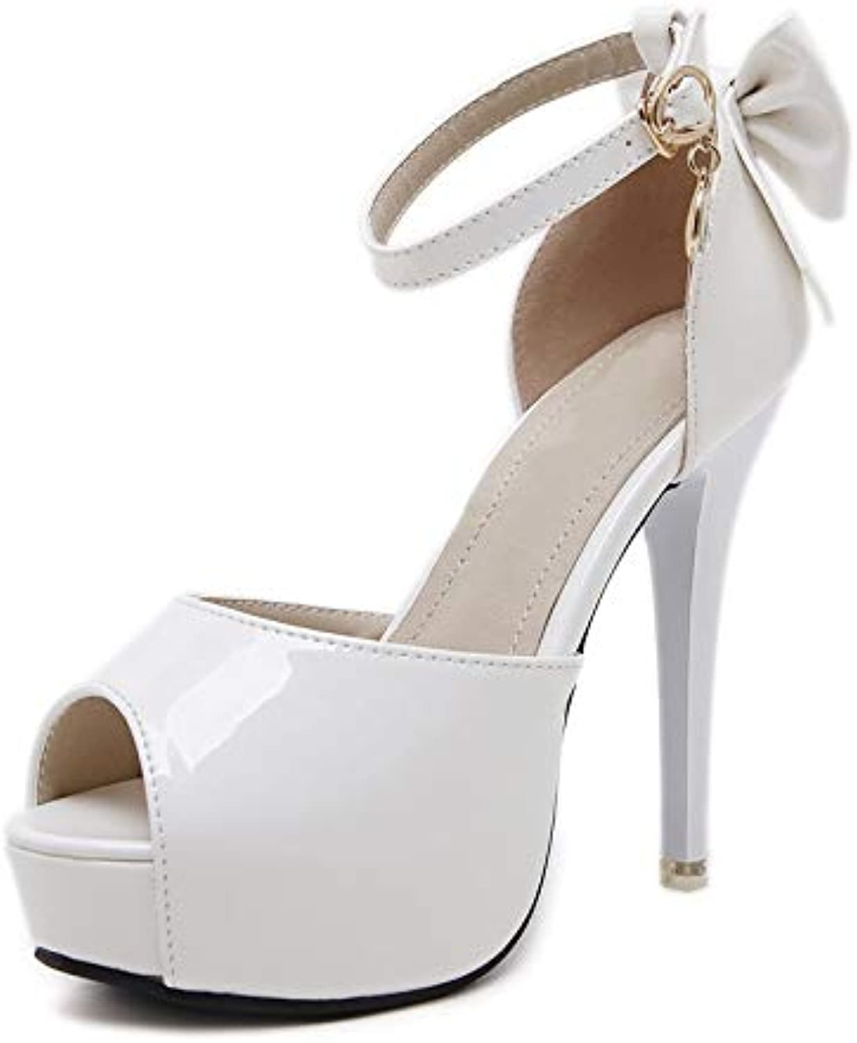 KCatsy Women's Peep Toe Platform Sandals Slim Party High Heels with Bow