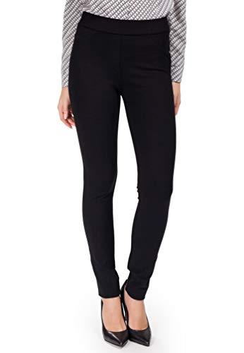 Femme Elegante Damen-Leggings mit Taschen dehnbarer hochwertiger Stoff für Büro und Freizeit in Schwarz