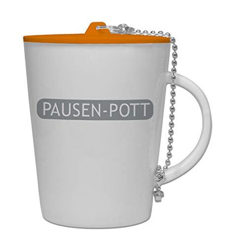 lehrerbüro Pausen-Pott, Kaffeetasse aus Porzellan, mit Kunststoffdeckel, Teetasse, Kaffeebecher, tolles Geschenk für Lehrer, spülmaschinengeeignet, Deckel in Orange, Aufdruck in Grau