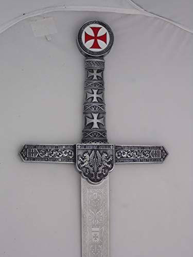 Jose Luis RUBIO Espada Legendaria Templaria Rústica en Acero Inoxidable Templado Fabricada en Toledo. Arma Blanca Decorativa sin Filo para coleccionistas y Amantes de la Historia