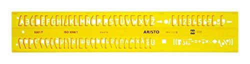 Aristo Isonorm Schriftschablone gerade Mittelschrift (7,0 mm, H-Profil, Typ B, formstabiler PET-Kunststoff) orange-transparent