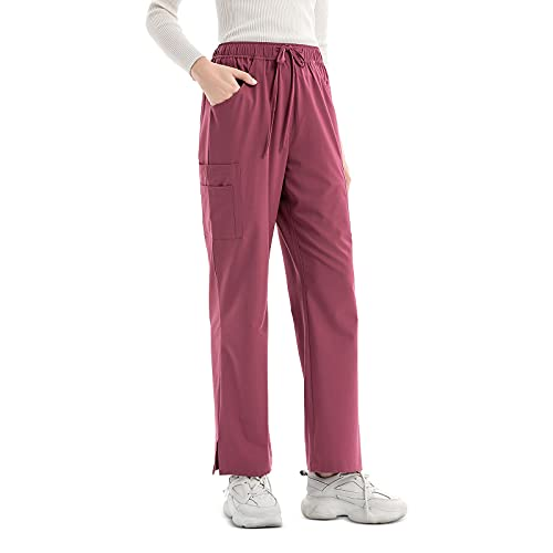 Pants for Women - Professionals Mid-Rise Straight Leg Pull-on Cargo Pant with 6 Pockets, Elastic Drawcord Waistband & Easy Care - Red
