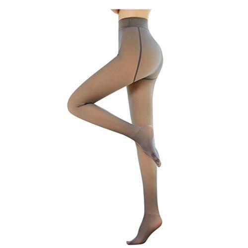 BAULMD Translucent Warm Fleece Strumpfhosen, Winter Strumpfhose Damen Feinstrumpfhose, Slim Lange Leggings Elastische Hosen, Hautfreundliche Baumwolle Leggings (Dünnschnitt, Schwarz)