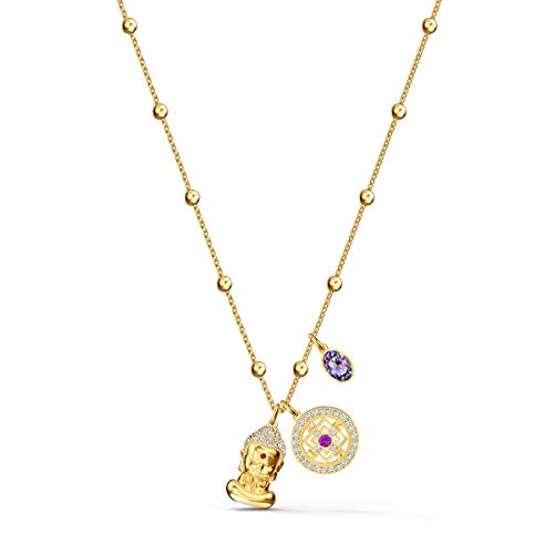 Swarovski Symbolic Collection Women's Pendant Necklace, with Three Multi-Colored Crystal Charms and Gold Tone Plated Chain, an Amazon Exclusive