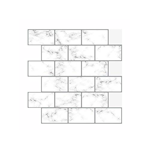 sknonr Dreidimensionale Selbstklebende Marmormusterwandaufkleber, Mosaikwandaufkleber weißer Fliesenaufkleber