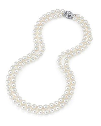 Collana a doppio filo di perle giapponesi Akoya bianche da 7,5-8 mm, in oro 14 ct, 43,18-45,72 cm, qualità AAA e oro giallo, colore: Gold/White, cod. 1