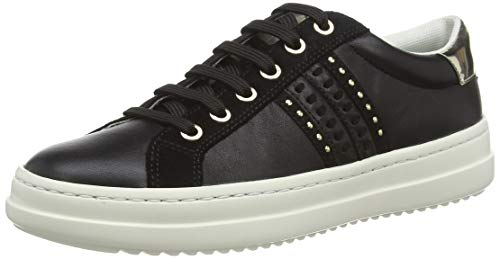 Geox Damen D PONTOISE D Sneaker, Schwarz (Black/Lt Gold C9258), 39 EU