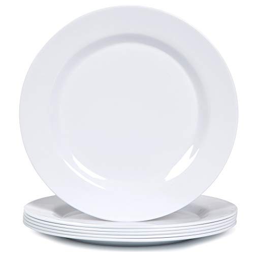 Melamine Dinner Plates Set - 10 3/4 Inch Dinner Dishes Set, 6pcs, White, Dishwasher Safe
