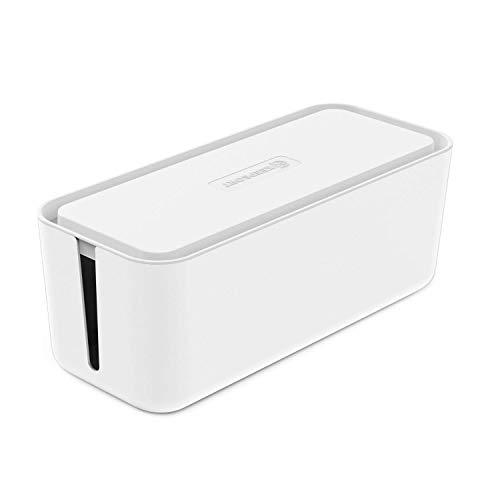 KEEPSORT® Extra Große Kabelbox für maximale Sicherheit im Haushalt - Kabel Organizer zum Verstauen von Steckdosenleisten, Ladeadaptern, Routern UVM. (XXL, Weiß)