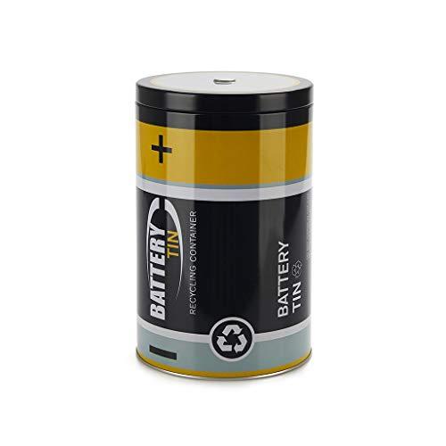 balvi Recycling-Batteriebehälter Battery Tin Farbe Schwarz Zum umweltfreundlichen Recyceln von Batterien Dose 19 x 12 x 12 cm