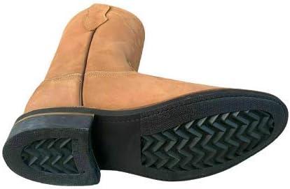 Men's Work Boots Genuine Nubuck Leather Pull ON TAN/MOCA Safety Western Botas