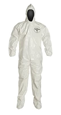 DuPont Tychem 4000 SL122B Chemical Resistant Coverall with Hood and Boots, Disposable, Bound Seams, Elastic Cuff, White, Large (Pack of 12)