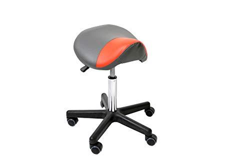 Promafit Sattelhocker/Sattelstuhl Max mit PU-Rollen für alle Böden mit strapazierfähigem Pu-Leder - ergonomisch - stufenlos höhenverstellbar - viele Farben - 360° drehbar (Anthrazit/Grau)
