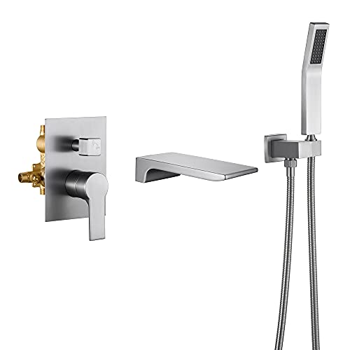 SHAMANDA Waterfall Wall Mounted Bathtub Faucet with Hand Shower, Bathroom Single Handle Tub Faucet Modern Brass Tub Shower Faucet Set(Including Rough-In Valve Body and Trim), Brushed Nickel, L901-2