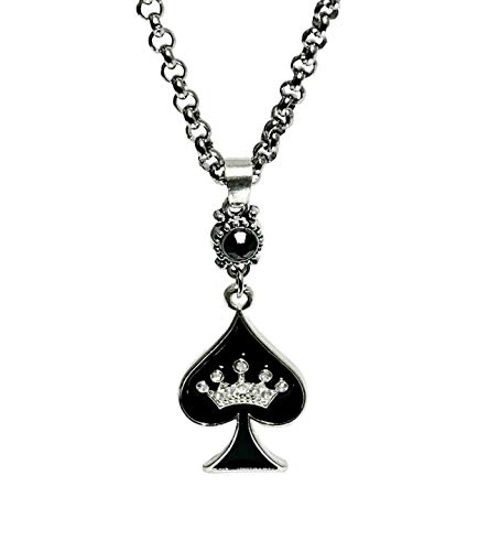 His and Hers Intimates  QOS Rhinestone Spade Pendant Necklace Jewelry - Hotwife, Hot Wife, Anklet, Bracelet, Queen of Spades, BBC, MFM, Swinger, Vixen, Threesome (QOS Spade Necklace 1)