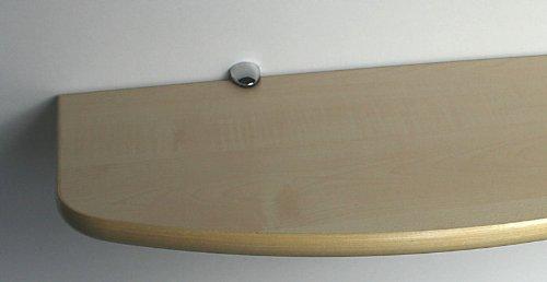 SET: Wandregal 89,5 cm Ahorn / Clip C325 chromfarben / konvex geschwungen