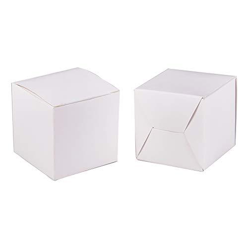 BENECREAT 60 STÜCKE Geschenkboxen White Paper Boxes Party Favor Boxen mit Deckel für die Geschenkverpackung, Hochzeit Party Favors, 5 x 5 x 5 cm