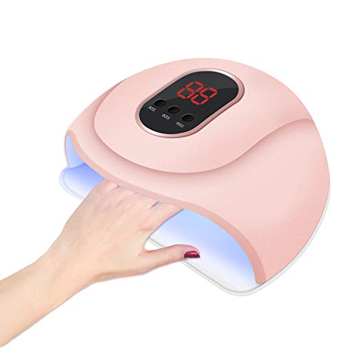 54W Lámpara Secadora de Uñas,LED/UV para Esmalte Uñas de Gel,3 modos para tiempo con Pantalla LCD para Manicura/Pedicure Nail Art en el Hogar y el Salón(Rosado)