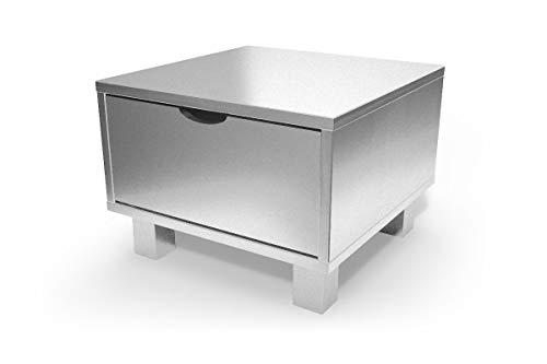 ABC MEUBLES - Table de Chevet Bois Cube + tiroir - CHEVCUB - Gris Aluminium