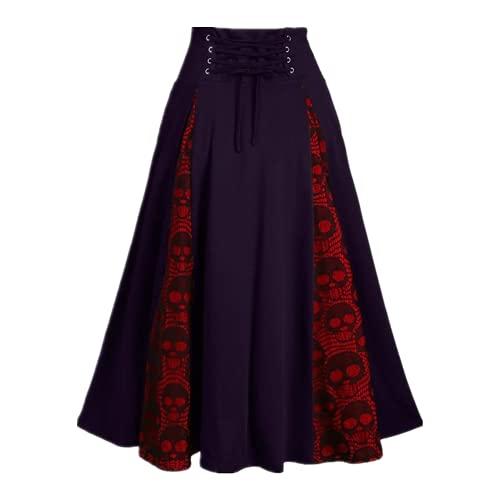 N\P Mujer Falda Otoño Invierno Cintura Alta Plisada Faldas Largas Encaje Patchwork Completo