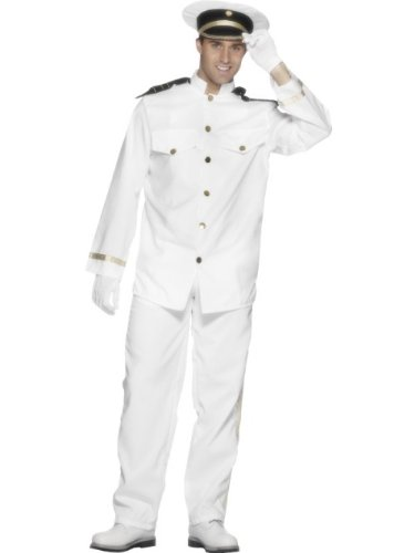 "Smiffys mens Captain Costume, White, L - US Size 42""-44"""