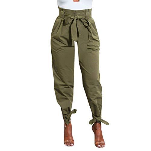 Honestyi Pantalon Femme Taille Haute Bandage Pantalons Couleur Unie Slim Pants de survêtement Baggy Boyfriend Summer Pantalons Sport All-Over Size One Size Trousers en Cotton Décontracté Yoga