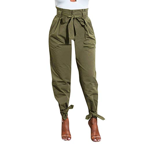 Honestyi Pantalon Femme Taille Haute Bandage Pantalons Couleur Unie Slim Pants de survêtement Baggy Boyfriend Summer Pantalons Sport All-Over Size One Size Trousers en Cotton Décontracté Yoga