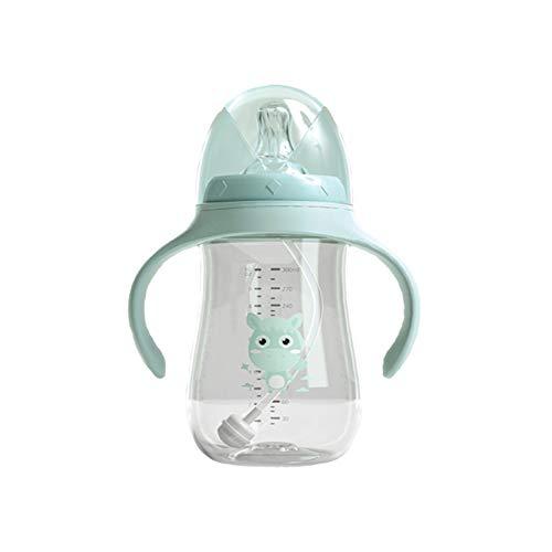 Babyflasche, multifunktionaler Silikon-Doppelgriff-Klappdeckel Auslaufsicherer Trinkwasserbecher mit weitem Mundwasser, für Kleinkinder, Kinder, Geburtstagsgeschenke