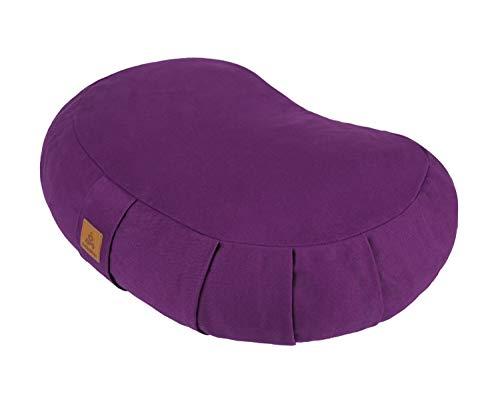 FelizMax Crescent Zafu Meditation Pillow, Zabuton Yoga Bolster, Meditation Cushion, Floor Pouf, Yoga Pillow, Zippered Organic Cotton Cover, Natural Buckwheat, Kneeling Pillow- Purple and Large Size