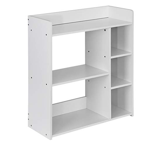 ErYao White Shelves Bookshelf, Wooden Small Bookcase, Multi-Layer Cube Storage, Narrow Shelving Unit, 23.6×9.5×26.8in, Shipped from US (White)