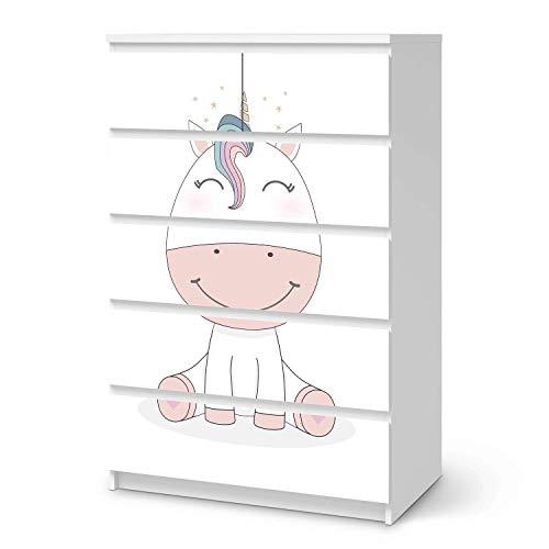 creatisto Wandtattoo Möbel für Kinder - passend für IKEA Malm Kommode 6 Schubladen (hoch) I Tolle Möbeldeko für Kinderzimmer Deko I Design: Baby Unicorn