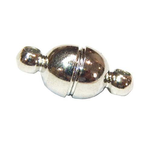 5Stk Magnet Verschluss Kettenverschluß, Magnetverschluss, 11 x 5 mm, Rund, Silber, Verschlüsse Verbinder Schmuckverschluss, Schmuckzubehör, Schmuckherstellung M409