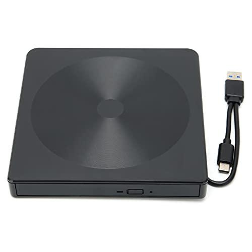 Heayzoki Unidad de CD Externa, Quemador de Disco de Interfaz Dual de Lectura de Alta Velocidad silenciosa K523 para CD/VCD/DVD, Compatible con Lectura silenciosa, Plug and Play