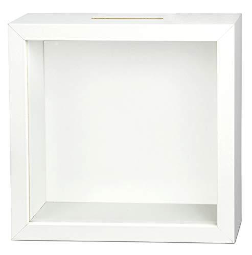 Sparbuex hochwertige DIY Bilderrahmen Spardose (20x20x6cm) – Einzigartiges Geldgeschenk für besondere Anlässe - zum Sparen für deinen Traum (DIY White)