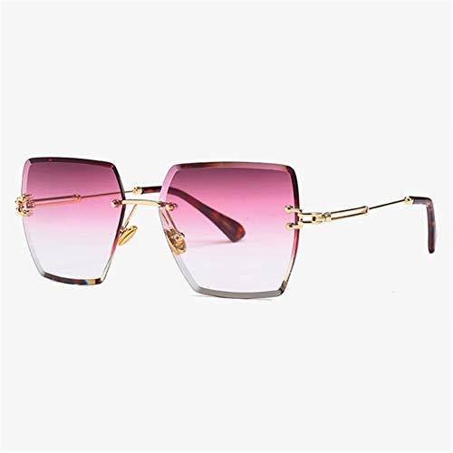 N\A Gafas de Sol de Moda 2020 de Lujo de Moda de Verano Sun Gafas cuadradas sin Montura Gafas de Sol Rojas sin Marco de Las Lentes for Mujeres de los Hombres UV400 (Lenses Color : C1 GrtPurRed)