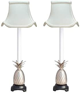 KensingtonRow Home Collection Pair of Pineapple Buffet Lamps - Pewter Finish W/Off White Pagoda Shades - 21