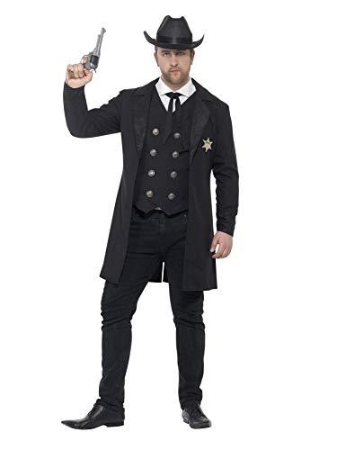 Fever Smiffy's 26530 Kostüm Sheriff, Erwachsene, mit Jacke, Hemd-Attrappe, Weste, Krawatte und Hut, Größe XXL