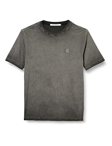 Calvin Klein Cold Dye Elongated tee Camiseta, Negro (CK Black Bae), S para Hombre