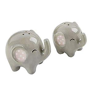 SM SunniMix Ceramic Cruet Spice Jar, Elephant Cute Salt and Pepper Shaker Spice Container Wedding Decor Souvenirs, Home Kitchen Accessories - 2pcs