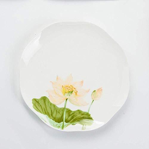 YAeele GYHJGSimple China de Hueso del vajilla 8 Pulgadas Boca Placa de cerámica Placa Irregular de Hoja de Loto Placa Plana de 8 Pulgadas Sopa Fácil de Limpiar