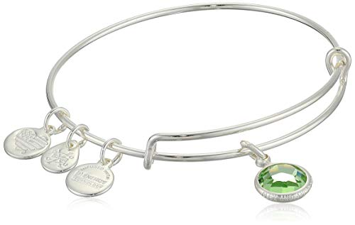 Alex and Ani Women's Swarovski Color Code Bangle August Peridot Bracelet, Shiny Silver, Expandable
